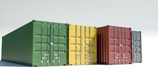 Contenedores para mercancías aislados en blanco stock de ilustración