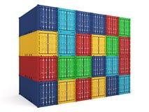 contenedores para mercancías coloreados almacén Fotografía de archivo libre de regalías