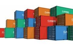 Contenedores para mercancías empilados del color Imágenes de archivo libres de regalías