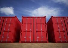 Contenedores para mercancías rojos Imagen de archivo libre de regalías