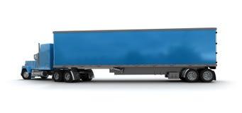 Conteneur de cargaison bleu de camion de remorque Photos libres de droits