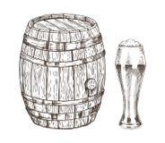 Conteneur de chêne et verre d'Ale Graphic Art écumeux illustration stock