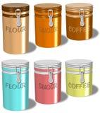 Conteneurs de café de sucre de farine Image stock