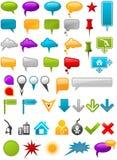 Conteneurs de message et flèches indicatrices de carte
