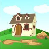 Contenga dentro del ejemplo de los campos del verde de una casa de la historieta libre illustration
