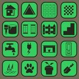 Contenga el ESTILO del icono del conjunto completo de la parte y del BASIC del pictograma Fotografía de archivo libre de regalías