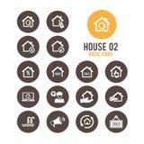 Contenga el icono Casas de las propiedades inmobiliarias?, planos para la venta o para el alquiler Ilustración del vector Imágenes de archivo libres de regalías