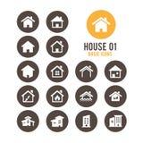 Contenga el icono Casas de las propiedades inmobiliarias?, planos para la venta o para el alquiler Ilustración del vector Foto de archivo libre de regalías