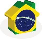 Contenga el icono casero con la bandera del Brasil en rompecabezas Fotos de archivo libres de regalías