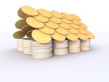 Contenga hecho de monedas Imágenes de archivo libres de regalías