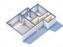 Contenga la representación del proyecto 3d del bosquejo del planeamiento del diseño interior Foto de archivo libre de regalías