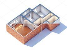 Contenga la representación del proyecto 3d del bosquejo del planeamiento del diseño interior Fotos de archivo