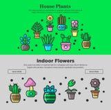 Contenga las plantas y las banderas del web del vector de las flores del jardín diseñan para cultivar un huerto libre illustration