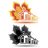 Contenga los iconos para el negocio de las propiedades inmobiliarias en el fondo blanco. Fotos de archivo libres de regalías