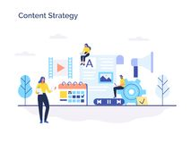 Contenido de acoplamiento, blogging, medios planeamiento, promoción en concepto plano del vector de la red social ilustración del vector