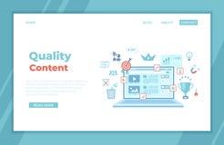 Contenido de la calidad, gestión contenta, optimización, filtración, evaluación Plantilla plana del diseño de la página web en la stock de ilustración
