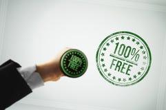 Contenido de la difusión gratuitamente con un sello verde Fotos de archivo libres de regalías