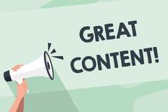 Contenido del texto de la escritura de la palabra gran Concepto del negocio para la materia valiosa del texto de un documento o l stock de ilustración