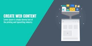 Contenido web creativo, escritura, producción, desarrollo, Optimización contenta para el márketing digital Bandera plana del vect libre illustration