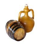 contenitore antico dell'argilla e vecchio barilotto di vino di Marsala Fotografie Stock Libere da Diritti
