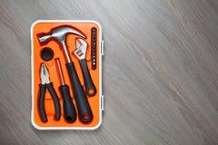 Contenitore arancio di strumenti Immagine Stock