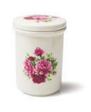 Contenitore ceramico floreale Fotografia Stock Libera da Diritti