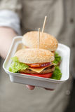 Contenitore con gli hamburger in mano maschio Fotografie Stock Libere da Diritti
