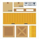 Contenitore d'imballaggio di cartone di Brown, pallet, contenitore giallo Immagine Stock