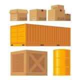 Contenitore d'imballaggio di cartone di Brown, pallet, contenitore giallo Fotografia Stock Libera da Diritti