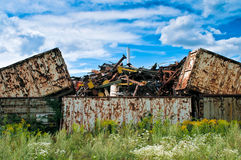 Contenitore dei rifiuti metallici Fotografia Stock