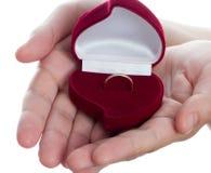 Contenitore di anello di cerimonia nuziale Immagine Stock Libera da Diritti