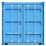 Contenitore di carico blu su fondo bianco rappresentazione 3d Fotografia Stock