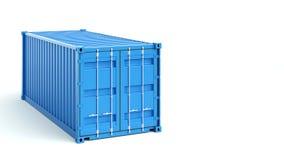Contenitore di carico blu su fondo bianco rappresentazione 3d Immagine Stock Libera da Diritti