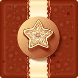 Contenitore di cioccolato di natale con il distintivo ed il nastro Fotografia Stock