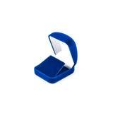 Contenitore di gioielli blu isolato su bianco immagini stock