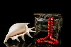 Contenitore di gioielli con cuore dal sopporto per anima del corallo rosso e coperture su fondo nero Fotografia Stock Libera da Diritti