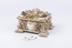 Contenitore di gioielli con gli orecchini delle coperture Fotografie Stock