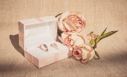 Contenitore di gioielli delicato per gli anelli di fidanzamento Fotografia Stock Libera da Diritti