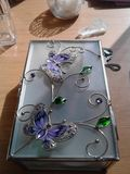 Contenitore di gioielli di vetro Fotografia Stock Libera da Diritti
