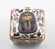 Contenitore di gioielli egiziano di geroglifici Fotografia Stock