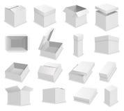 Contenitore di imballaggio in bianco di vettore su fondo bianco Scatola aperta realistica Fotografia Stock