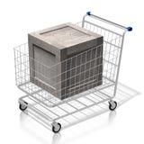 contenitore di legno di carrello di acquisto 3D - concetto online di acquisto royalty illustrazione gratis