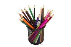 Contenitore di matita di colore del metallo Immagini Stock Libere da Diritti