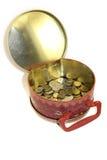 Contenitore di metallo con soldi Fotografia Stock Libera da Diritti