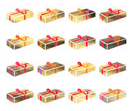 Contenitore di oro con un regalo per il Natale o la festa di anothrer Fotografia Stock Libera da Diritti