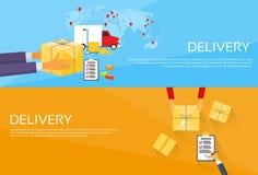 Contenitore di pacchetto di servizio di distribuzione che riceve corriere illustrazione vettoriale