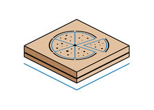 Contenitore di pizza isolato su fondo bianco Immagine Stock