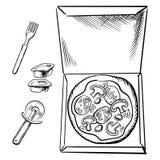 Contenitore di pizza, tazze della salsa, forcella e schizzo della taglierina Immagine Stock