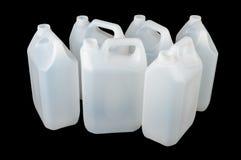 Contenitore di plastica bianco del commestibile isolato sul nero immagine stock libera da diritti