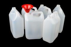 Contenitore di plastica bianco del commestibile isolato sul nero Fotografia Stock Libera da Diritti